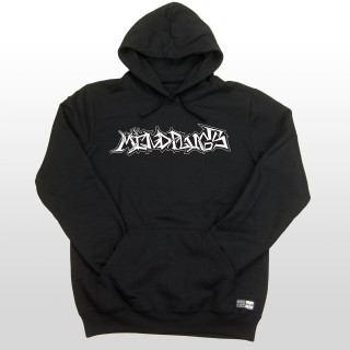 "This is a picture of a black mens 7.8 ounce 50/50 cotton/poly fleece hoodie with a hand-drawn graffiti design on the front chest that says ""Mind Plugs"" in white."