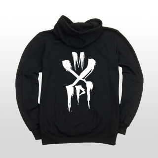 This is a picture of a black mens 7.8 ounce 50/50 cotton/poly fleece hoodie with a small white MxP design on the front left chest and a big white MxP piece blasted on the back.