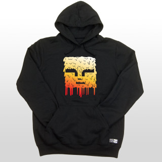 This is a picture of a black mens 7.8 ounce 50/50 cotton/poly fleece hoodie with a big red, orange and white Mind Plugs face melting down the front center of the hoodie.
