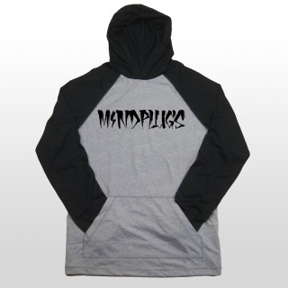 This is a picture of a black and grey mens 4.8-ounce, 50/50 ring spun combed cotton/poly t shirt hoodie. The hooded t shirt features the Mind Plugs word logo across the front center chest.