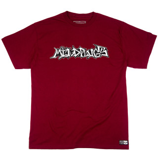 "This is a picture of a mens maroon 5.5 ounce, 100% ring spun cotton graphic tee. The tee features a graffiti piece that says ""mindplugs"" across the chest. The graffiti letters on this tee are hand-drawn and custom made by the owner of Mind Plugs."