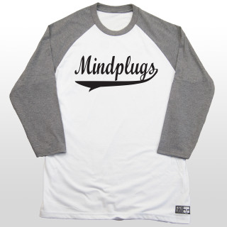 This is a picture of a mens 4.5 ounce, 50/25/25 poly/ring spun combed cotton,rayon white and grey three-quarter length sleeve baseball t shirt. The shirt features a classic athletic style font in black across the front chest.