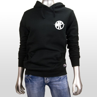 This is a picture of a womens black 7.8 ounce, 50/50 cotton/poly Mind Plugs fleece hoodie. The hoodie features a simple white bubbly MP logo on the front left chest. The hoodie has black drawstrings and a lined hood.