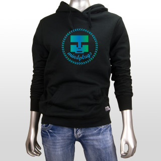 This is a picture of a womens black 7.8 ounce, 50/50 cotton/poly Mind Plugs fleece hoodie. The hoodie features classic caddie style emblem across the front chest. The emblem is blue, green and teal.  The hoodie has black drawstrings and a lined hood.