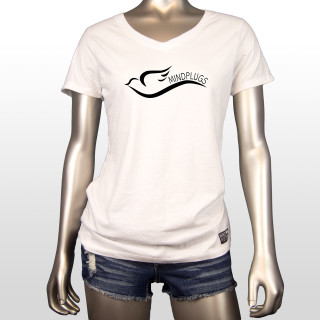"This is a picture of a womens white 4.5-ounce, 100% ring spun cotton v-neck graphic t shirt. This shirt features a simple yet cute dove design and the words ""Mind Plugs"" in black on the front left chest."
