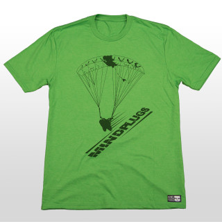 This one's for all you swoopers out there. This green graphic tee features a silhouette of a skydiver in full swoop with the words mind plugs underneath. You really can't go wrong with this simple skydiving design. The 4.5-ounce, 50/25/25 poly/combed ring spun combed cotton/rayon material is very comfortable and great for everyday wear. The shirt is made tagless to added comfort so you can send it without that itchy tag on your neck.