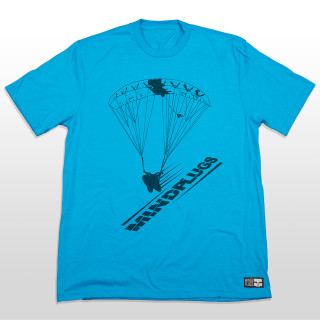 This one's for all you swoopers out there. This blue graphic tee features a silhouette of a skydiver in full swoop with the words mind plugs underneath. You really can't go wrong with this simple skydiving design. The 4.5-ounce, 50/25/25 poly/combed ring spun combed cotton/rayon material is very comfortable and great for everyday wear. The shirt is made tagless to added comfort so you can send it without that itchy tag on your neck.
