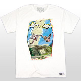 This white shirt features a cartoon style graphic of a skydiver and squirrel in free fall! The design encompasses many colors to make it pop off the shirt. The 5.5-ounce, 100% ring spun cotton material makes this tee a great everyday wear. The shirt is also made tag-less and a little longer in length for added comfort while shredding the sky. This shirt is truly unique and perfect just like all our skydiving friends!