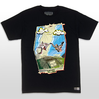This black shirt features a cartoon style graphic of a skydiver and squirrel in free fall! The design encompasses many colors to make it pop off the shirt. The 5.5-ounce, 100% ring spun cotton material makes this tee a great everyday wear. The shirt is also made tag-less and a little longer in length for added comfort while shredding the sky. This shirt is truly unique and perfect just like all our skydiving friends!