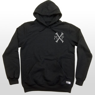 "This black men's hoodie features a small cross bones chest emblem on the front and a blasted cross bones on the back with ""Mind Plugs"" integrated into the design. This 7.8-ounce 50/50 cotton/poly fleece hoodie has a good heavy feel and is guaranteed to keep you warm. This grey design truly kills the competition!"