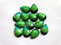 50 Pieces - Teardrop Cabochon 18x25mm Green Blend