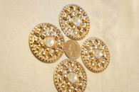 20 Pieces S884 Rhinestone Embellishments Gold