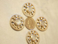 20 Pieces S889 Rhinestone Embellishments Gold