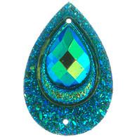 10 Pieces - 30 x 40 mm Peacock Tear Drop Stone Emerald AB