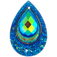 10 Pieces - 30 x 40 mm Peacock Tear Drop Stone Royal Blue AB