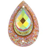 10 Pieces - 30 x 40 mm Peacock Tear Drop Stone Orange AB