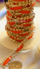 Rhinestone Trim -  Orange Rectangle Diamond Trim - Per Yard