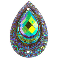 10 Pieces - 30 x 40 mm Peacock Tear Drop Stone Brown AB