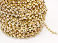 Rhinestone Trim -  Gold Single 4mm Trim - Per Yard