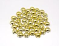 100 Pieces - 14 mm Round Metallic Flatback Pearls - Gold