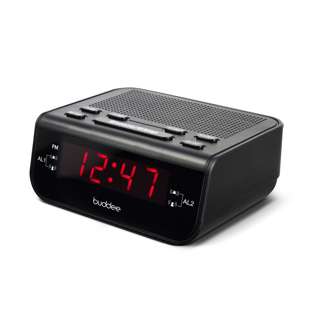 clock radio am fm tuner alarm bedside table snooze led display compact portable ebay. Black Bedroom Furniture Sets. Home Design Ideas