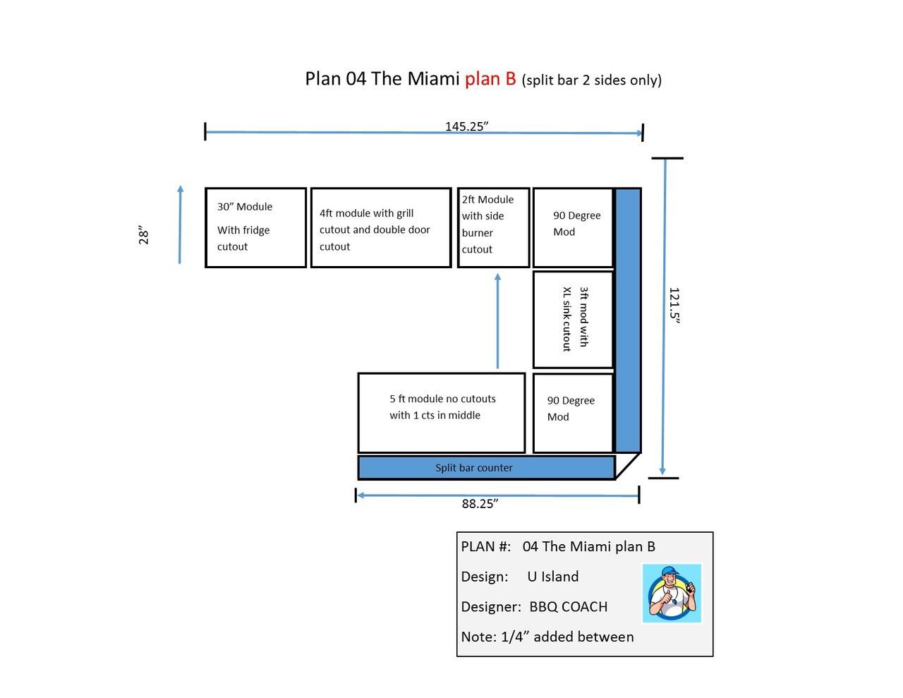miami outdoor kitchen plan b 25 5 88 25 outdoor kitchen island miami outdoor kitchen island plan b