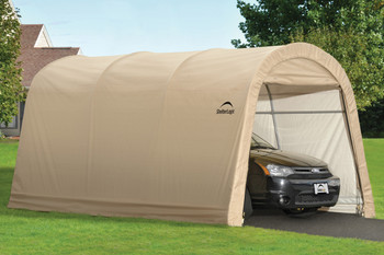 10x15x8 Round Style Auto Shelter Sandstone Cover