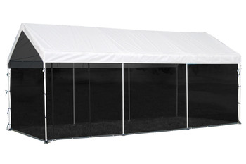 "10x20 Canopy 1-3/8"" 8-Leg Frame White Cover, Screen Kit"