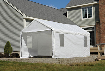 "10x20 White Canopy Enclosure Kit w/Windows Fits 1-3/8"" Frame"