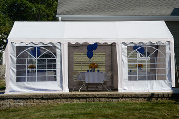 10x20 Party Tent, 8-Leg Galvanized Steel Frame, White with Enclosure Kit & Windows