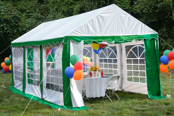 10x20 Party Tent, 8-Leg Galvanized Steel Frame, Green/White with Enclosure Kit & Windows