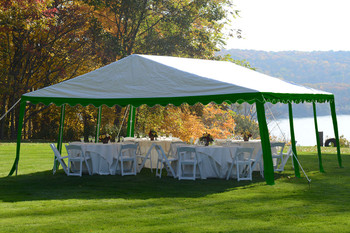 20x20 Party Tent, 8-Leg Galvanized Steel Frame, Green/White Cover