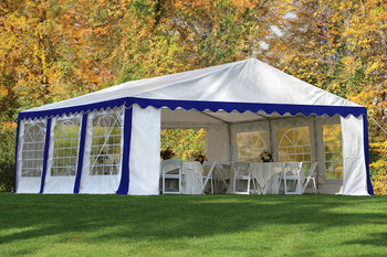 20x20 Party Tent, 8-Leg Galvanized Steel Frame, Blue/White with Enclosure Kit & Windows