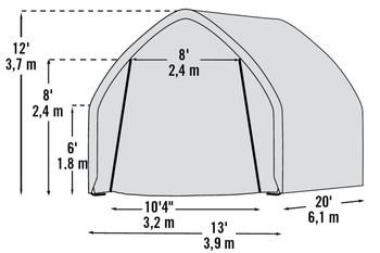 """13x20x12 (6) Rib High Arch Style Powder Coated 1-5/8"""" Frame"""