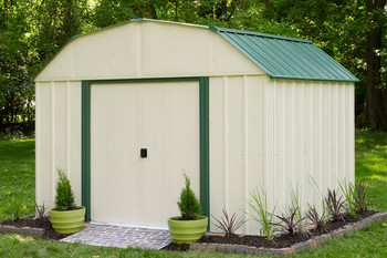 Vinyl Sheridan 10' x 8' Vinyl Coated Steel - Meadow Green / Almond Gambrel