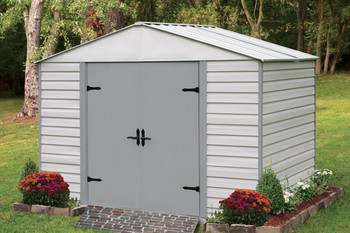 Viking® 10' x 7' Vinyl Coated Steel - Stoney / Creamy Vanilla High Gable