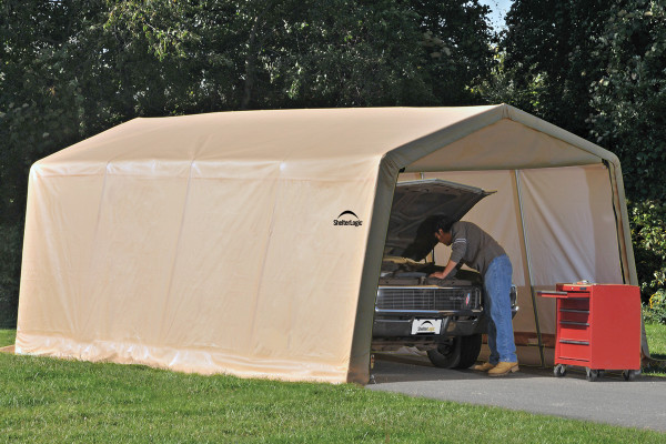 Cover It Shelters : Peak style auto shelter sandstone cover shelters