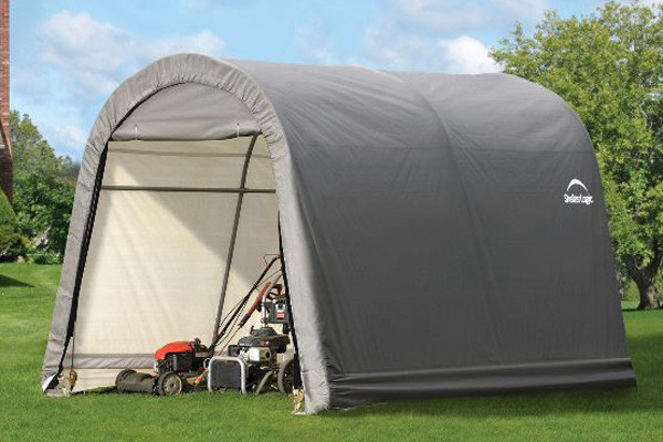 10x10x8 Round Style Storage Shed Grey Shelters Of New
