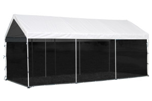 """10x20 Canopy 1-3/8"""" 8-Leg Frame White Cover, Screen Kit"""