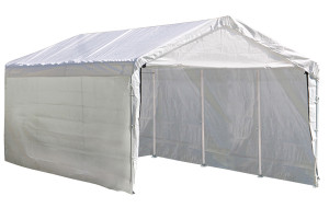 "10x20 Canopy 1-3/8"" 8-Leg Frame White Cover, Enclosure & Extension Kit"