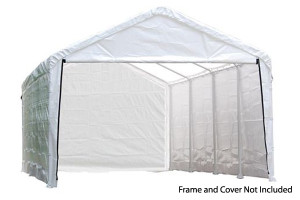 "12x26 White Canopy Enclosure Kit, Fits 2"" Frame"