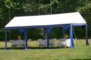 10x20 Party Tent, 8-Leg Galvanized Steel Frame, Blue/White Cover