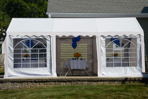10x20 party tent 8 leg galvanized steel frame white with enclosure kit