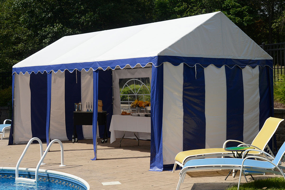 10x20 Party Tent 8 Leg Galvanized Steel Frame Blue White