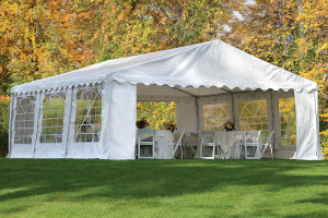 20x20 Party Tent, 8-Leg Galvanized Steel Frame, White with Enclosure Kit & Windows