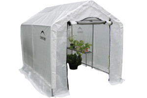 "6x8x6'6"" Peak Style Organic Growers Greenhouse with integrated shelving"