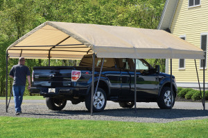12x20x9 Carport-in-a-Box,Brown Steel Frame, Sandstone Cover