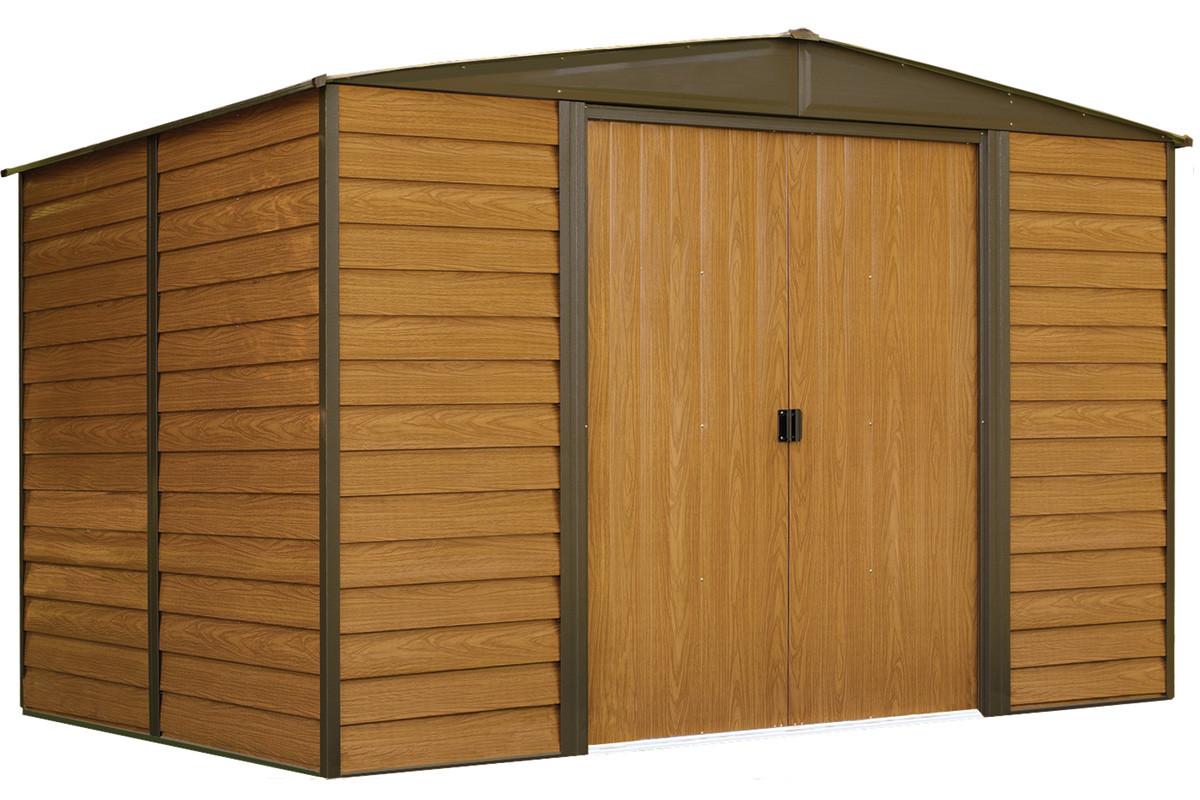 Woodridge 10 39 x 8 39 electro galvanized steel coffee woodgrain shelters of new england - Abri de jardin leclerc tourcoing ...