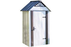 Designer™ Metro Shed, 4' X 2' Hot Dipped Galvanized Steel - Java / Sand