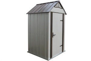 Designer™ Metro Shed, 4' X 4' Hot Dipped Galvanized Steel - Java / Sand